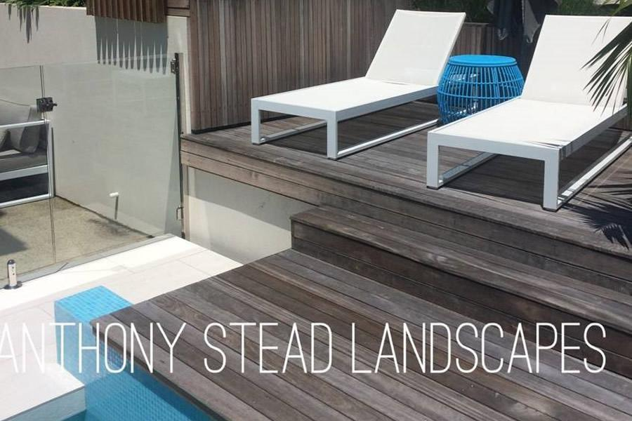 Landscaping of pool surround, decking & gardens.